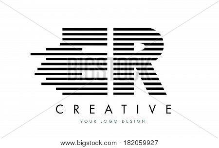 Er E R Zebra Letter Logo Design With Black And White Stripes