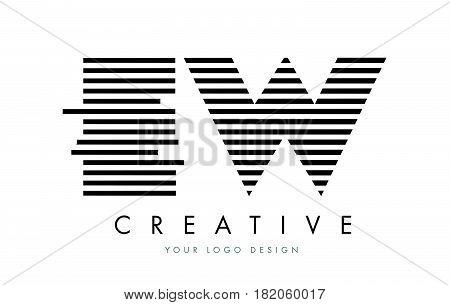 Ew E W Zebra Letter Logo Design With Black And White Stripes