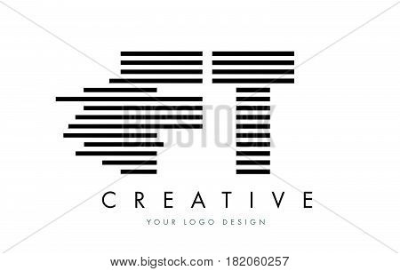 Ft F T Zebra Letter Logo Design With Black And White Stripes
