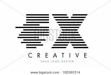 Fx F X Zebra Letter Logo Design With Black And White Stripes
