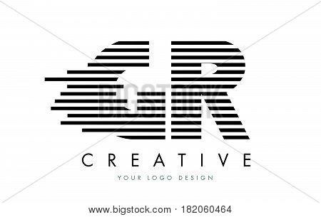 Gr G R Zebra Letter Logo Design With Black And White Stripes