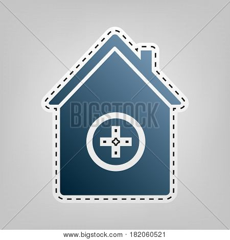 Hospital sign illustration. Vector. Blue icon with outline for cutting out at gray background.