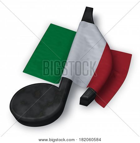 music note and italian flag - 3d rendering