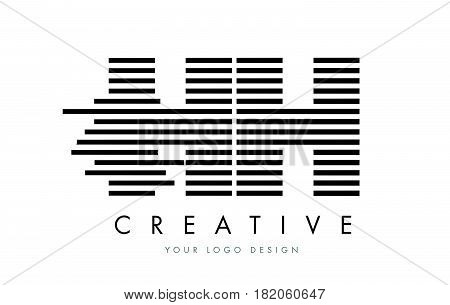 Hh H H Zebra Letter Logo Design With Black And White Stripes