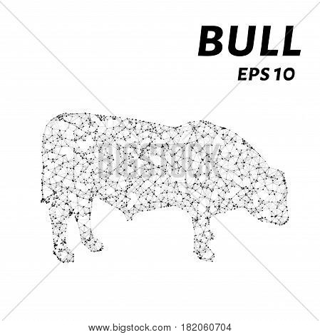 The Bull Consists Of Points, Lines And Triangles. The Polygon Shape In The Form Of A Silhouette Of A