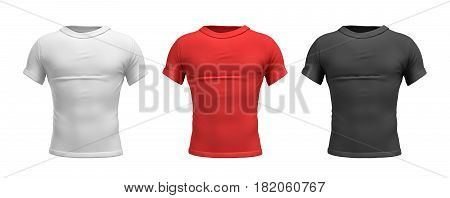 3d rendering of three male T-shirts in realistic slim torso front view in white, red and black colors. Clothes and wardrobe. Casual and sport wear. T-shirts and polos.