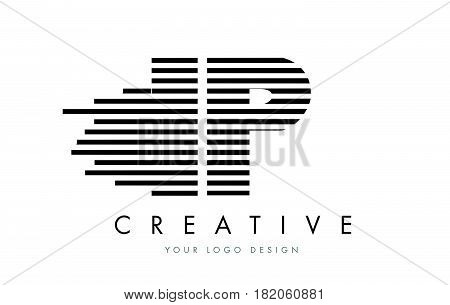Ip I P Zebra Letter Logo Design With Black And White Stripes