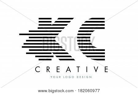 Kc K C Zebra Letter Logo Design With Black And White Stripes