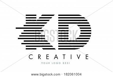 Ke K E Zebra Letter Logo Design With Black And White Stripes