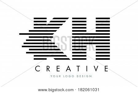 Kh K H Zebra Letter Logo Design With Black And White Stripes
