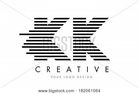Kk K K Zebra Letter Logo Design With Black And White Stripes