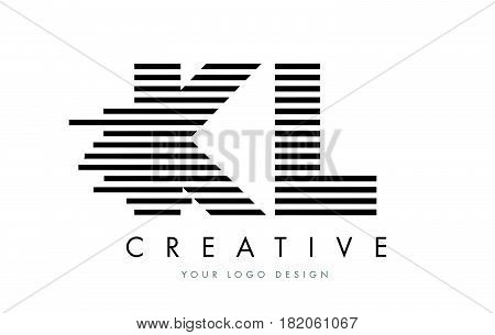 Kl K L Zebra Letter Logo Design With Black And White Stripes
