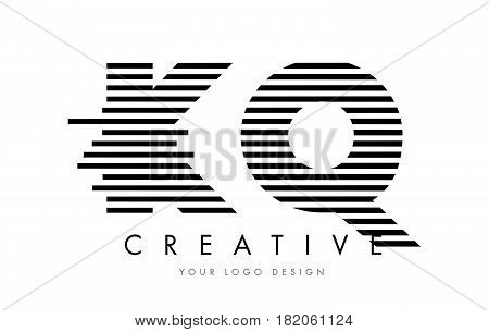 Kq K Q Zebra Letter Logo Design With Black And White Stripes