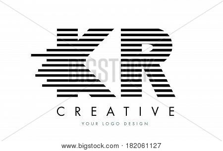 Kr K R Zebra Letter Logo Design With Black And White Stripes