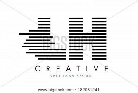 Lh L H Zebra Letter Logo Design With Black And White Stripes