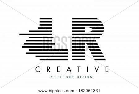 Lr L R Zebra Letter Logo Design With Black And White Stripes