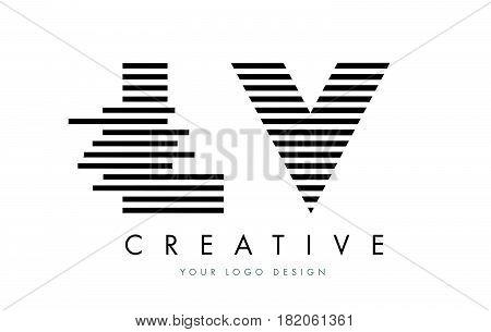 Lv L V Zebra Letter Logo Design With Black And White Stripes