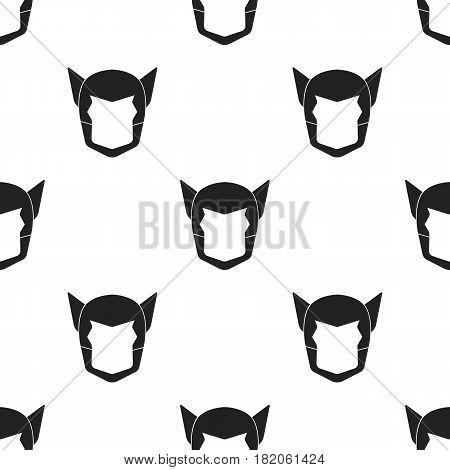 Superhero's helmet icon in black style isolated on white background. Superhero's mask pattern vector illustration.