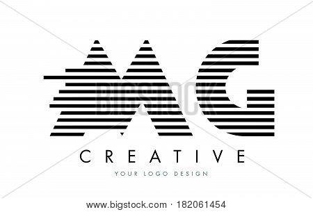 Mg M G Zebra Letter Logo Design With Black And White Stripes