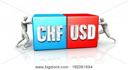 CHF USD Currency Pair Fighting in Blue Red and White Background 3D Illustration Render