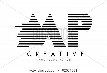 Mp M P Zebra Letter Logo Design With Black And White Stripes