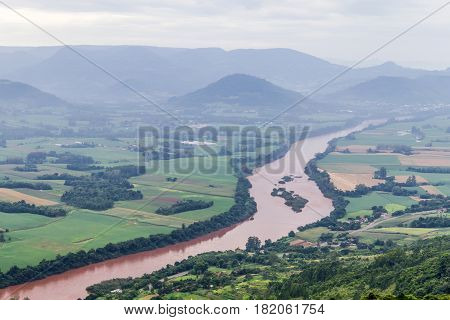 Taquari River From Morro Do Gaucho Mountain Landscape