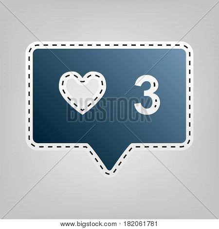 Like and comment sign. Vector. Blue icon with outline for cutting out at gray background.