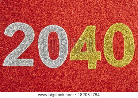 Number two thousand and forty over a red background. Anniversary. Horizontal