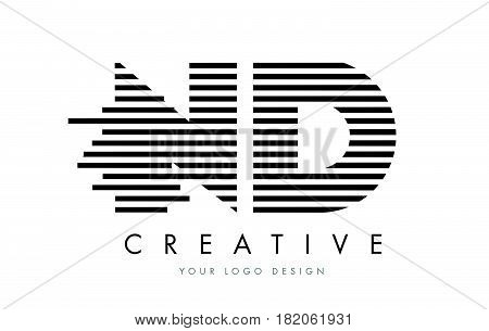 Nd N D Zebra Letter Logo Design With Black And White Stripes
