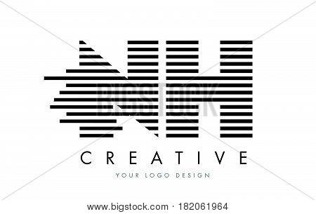 Nh N H Zebra Letter Logo Design With Black And White Stripes