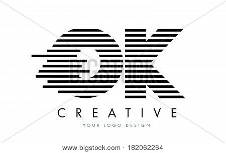 Ok O K Zebra Letter Logo Design With Black And White Stripes