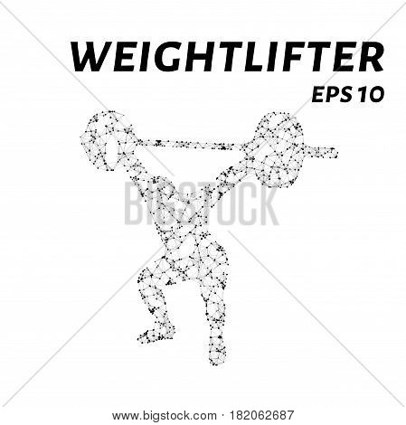 Weightlifting Consists Of Points, Lines And Triangles. The Polygon Shape In The Form Of A Silhouette