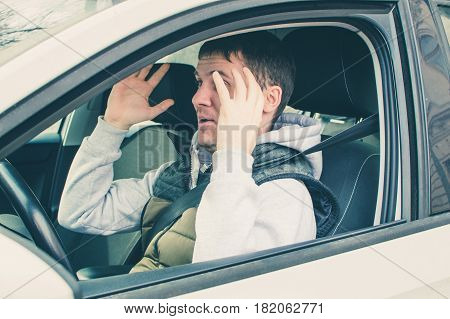 Furious And Reckless Driver. Danger Driving Concept