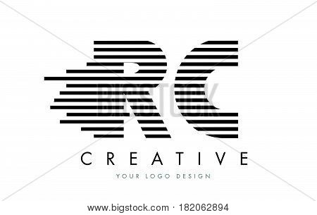 Rc R C Zebra Letter Logo Design With Black And White Stripes
