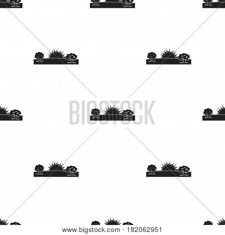 Sunrise icon in black style isolated on white background. Weather pattern vector illustration.