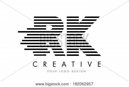 Rk R K Zebra Letter Logo Design With Black And White Stripes