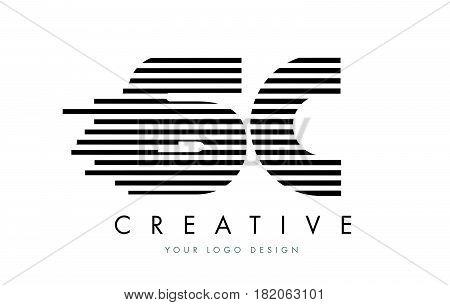 Sc S C Zebra Letter Logo Design With Black And White Stripes