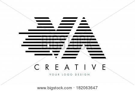 Va V A Zebra Letter Logo Design With Black And White Stripes