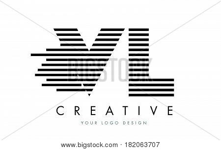 Vl V L Zebra Letter Logo Design With Black And White Stripes