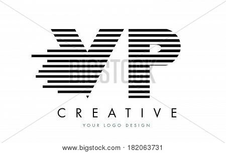 Vp V P Zebra Letter Logo Design With Black And White Stripes