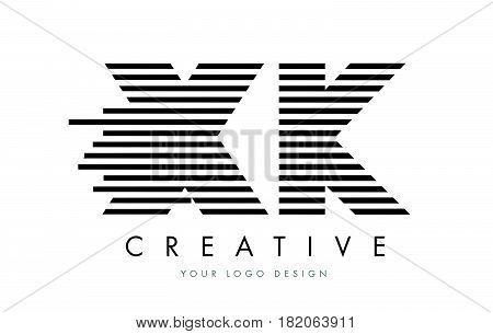 Xk X K Zebra Letter Logo Design With Black And White Stripes
