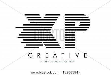 Xp X P Zebra Letter Logo Design With Black And White Stripes