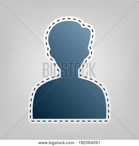 User avatar illustration. Anonymous sign. Vector. Blue icon with outline for cutting out at gray background.