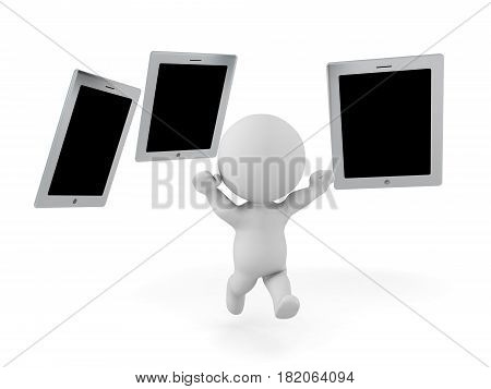 3D Character being chased by many tablets Internet device addiction concept. This image depicts the concept of being addicted to electronic devices.