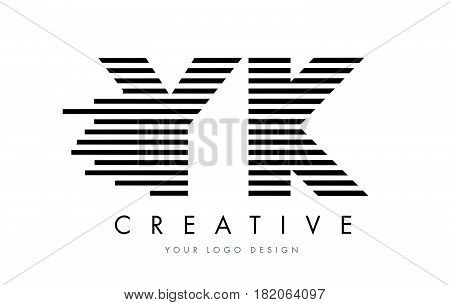 Yk Y K Zebra Letter Logo Design With Black And White Stripes