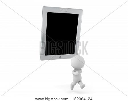 3D Character being chased by a giant tablet. This image depicts the concept of being addicted to electronic devices.