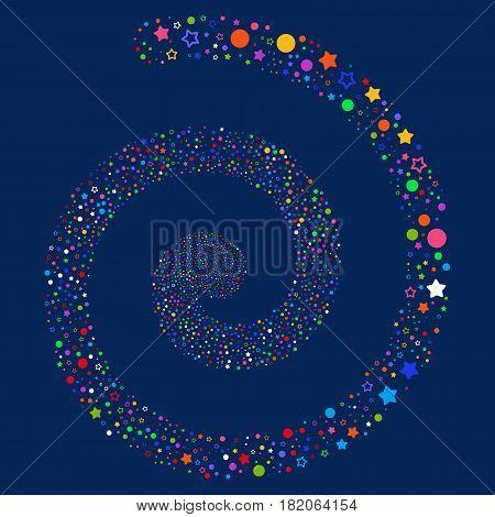Confetti Stars bang swirl spiral. Vector bright multicolored random symbols.