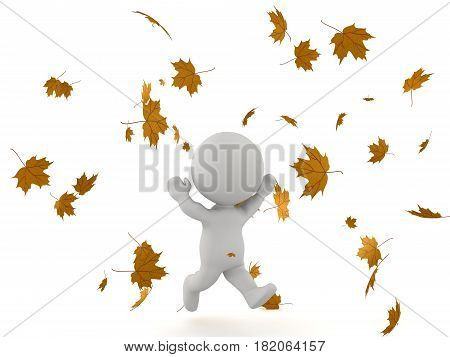 3D Character running with his arms up through falling autumn leaves. This image conveys joy.