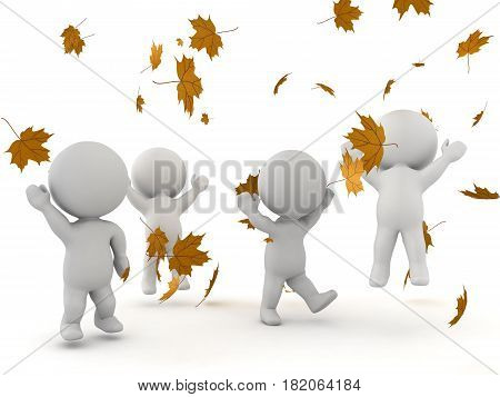 3D Characters jumping and being happy while autumn leaves are falling. This conveys joy and happiness.
