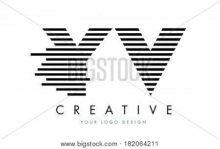 Yv Y V Zebra Letter Logo Design With Black And White Stripes